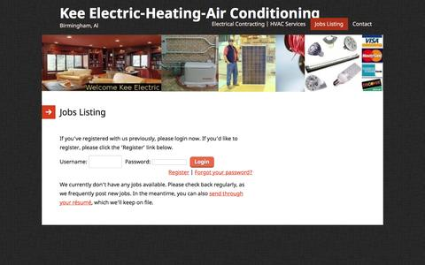 Screenshot of Jobs Page kee-electric-birmingham-al.com - Jobs Listing | Kee Electric-Heating-Air Conditioning - captured Feb. 12, 2016