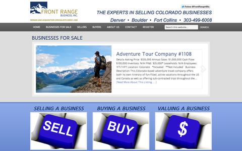 Screenshot of Home Page frontrangebusiness.com - Front Range Business, Inc. — The Experts In Selling Colorado Businesses - captured Sept. 19, 2014