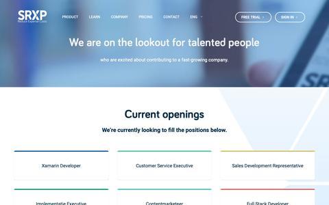 Screenshot of Jobs Page srxp.com - Jobs: Work at SRXP Mobile Expense Reporting - captured Nov. 18, 2018