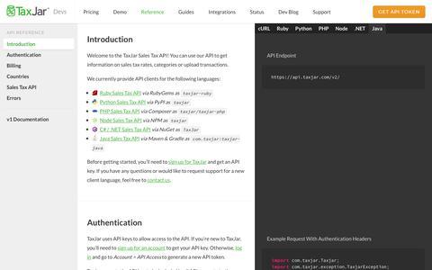 Screenshot of Developers Page taxjar.com - Sales Tax API Reference - TaxJar Developers - captured Nov. 7, 2017