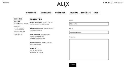 Screenshot of Contact Page alixnyc.com - Contact – ALIX - captured Feb. 15, 2019