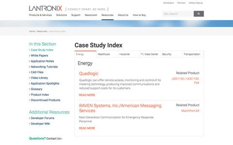 Screenshot of Case Studies Page lantronix.com - Case Study Index | Lantronix - captured Nov. 23, 2015
