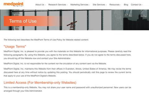 Screenshot of Terms Page medpt.com - Terms of Use | MedPoint Digital - captured Oct. 17, 2018