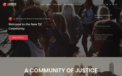 Screenshot of Home Page thejusticeconference.com - The Justice Conference - Chasing Justice Together - captured Jan. 20, 2018