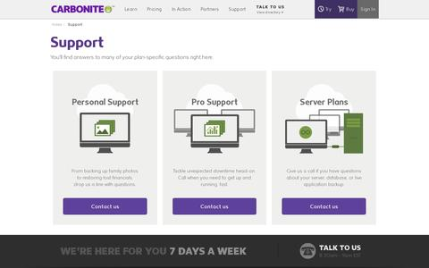 Screenshot of Support Page carbonite.com - Support for Carbonite Business and Home Office Customers| Carbonite Online Backup - captured July 18, 2014