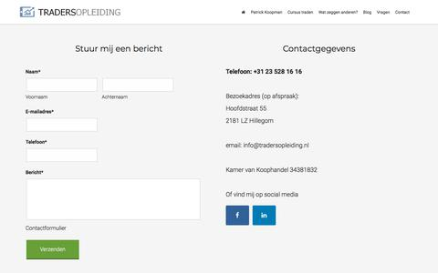 Screenshot of Contact Page tradersopleiding.nl - Contact - captured Sept. 21, 2018