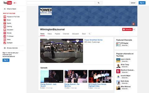 Screenshot of YouTube Page youtube.com - WilmingtonBizJournal  - YouTube - captured Oct. 22, 2014