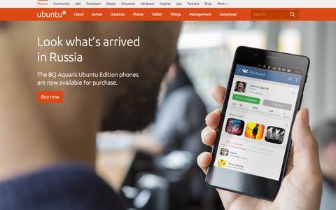 Screenshot of Home Page ubuntu.com - The leading OS for PC, tablet, phone and cloud | Ubuntu - captured Nov. 21, 2015