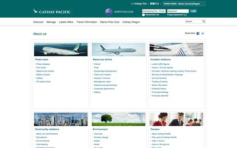 Screenshot of About Page cathaypacific.com - About us - Cathay Pacific - captured Oct. 28, 2016