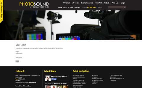 Screenshot of Login Page photosoundav.com - login - Photosound - captured Oct. 2, 2014