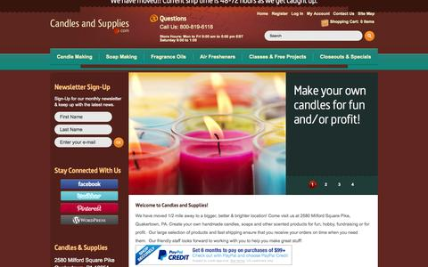 Screenshot of Home Page Site Map Page candlesandsupplies.net - Candle making and soap making supplies, fragrances, projects & classes. Candles and Supplies.Com, Inc. - captured Sept. 23, 2014