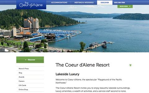 Screenshot of About Page cdaresort.com - The Coeur d'Alene | Coeur d'Alene Resort - captured Sept. 22, 2014
