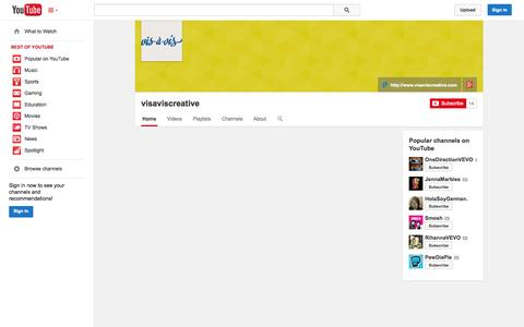 Screenshot of YouTube Page youtube.com - visaviscreative  - YouTube - captured Oct. 26, 2014