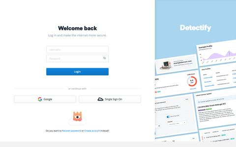 Screenshot of Login Page detectify.com - Log in and Monitor Your Site's Security   Detectify - captured Jan. 21, 2019