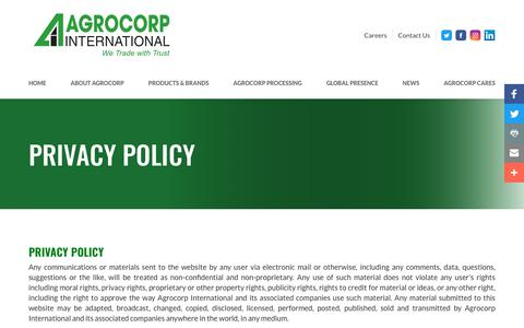 Screenshot of Privacy Page agrocorp.com.sg - Privacy Policy - captured Oct. 7, 2017