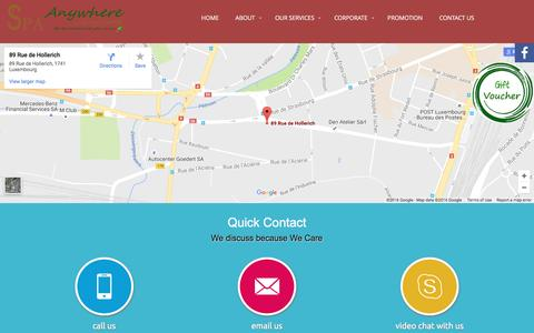 Screenshot of Contact Page spaanywhere.lu - Contact Us | SpaAnywhere - captured Dec. 1, 2016