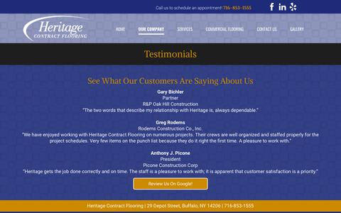 Screenshot of Testimonials Page heritagefloor.com - Heritage Contract Flooring Testimonials | Buffalo, NY | Commercial Flooring - captured Sept. 28, 2018