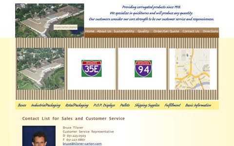 Screenshot of Support Page tilsner-carton.com - Tilsner Carton Company Customer Service | Corrugated Boxes | Custom Packaging | Minneapolis | St. Paul | Minnesota - captured Oct. 24, 2017
