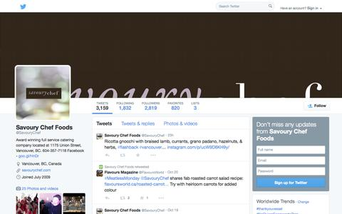 Screenshot of Twitter Page twitter.com - Savoury Chef Foods  (@SavouryChef) | Twitter - captured Oct. 23, 2014