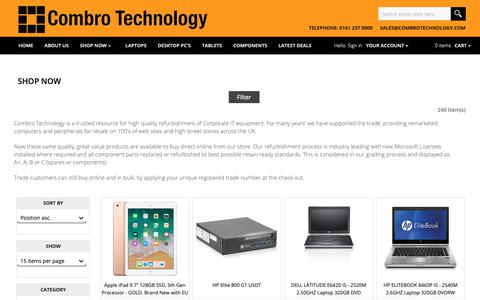 Screenshot of Products Page combrotechnology.com - Shop Now - captured Sept. 29, 2018