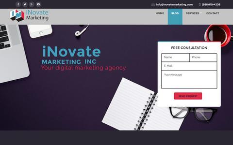 Screenshot of Blog inovatemarketing.com - iNovate Marketing Blog - iNovate Marketing Inc. - captured July 6, 2016