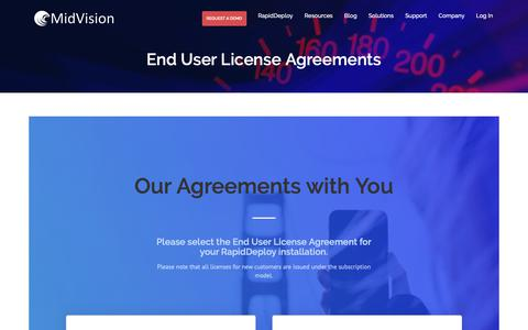 Screenshot of Terms Page midvision.com - End User License Agreements - MidVision - captured Oct. 18, 2018