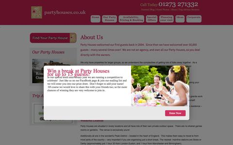 Screenshot of About Page partyhouses.co.uk - About Us - Party Houses - captured Oct. 1, 2014