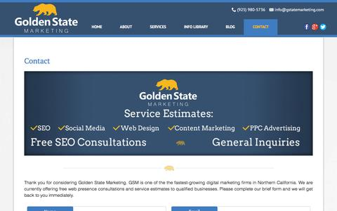 Screenshot of Contact Page gstatemarketing.com - Contact GSM - FREE Online Marketing Consultations/Estimates - captured Jan. 31, 2016