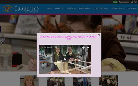 Screenshot of Home Page loretogs.com - Home - Loreto Grammar School, Omagh - captured Feb. 24, 2018