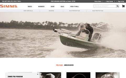Screenshot of Team Page simmsfishing.com - Pro Team - captured Sept. 29, 2019
