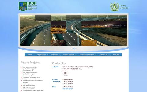 Screenshot of Contact Page ipdf.gov.pk - Infrastructure Project Development Facility, Ministry of Finance - captured Oct. 15, 2017