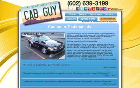 Screenshot of Testimonials Page scottsdalecabguy.com - Scottsdale Cab Testimonials | Taxi Cab Testimonials - captured Oct. 3, 2014