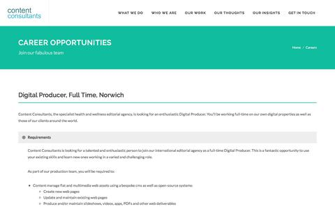 Screenshot of Jobs Page contentconsultants.co.uk - Careers at Content Consultants - captured July 21, 2018
