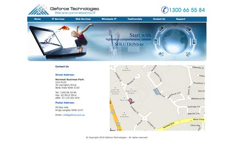 Screenshot of Contact Page geforce.com.au - Australia-Contact Us - captured Nov. 3, 2014