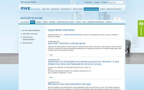 Screenshot of Press Page rwe.com - RWE AG - Capital Market Information - captured Sept. 23, 2014