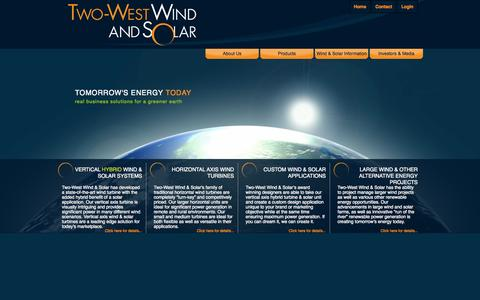 Screenshot of Home Page two-west.com - Two West Wind and Solar Inc. | Tomorrow's Energy Today - captured Oct. 6, 2014