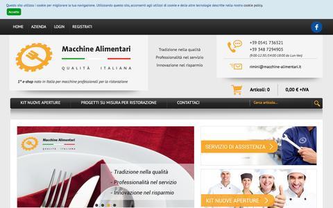 Screenshot of Home Page macchine-alimentari.it - E-shop attrezzature da ristorazione: attrezzature per bar, macellerie e pizzerie, cappe aspirazione e tritacarne professionali  – Macchine Alimentari - captured Nov. 17, 2016