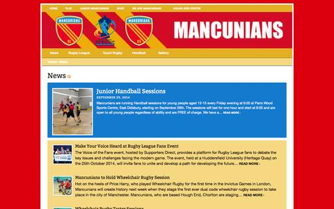 Screenshot of Press Page wearemancunians.com - Play Rugby League Manchester | Play Touch Rugby Manchester | Play Handball Manchester | Mancunians  | Archive for News - captured Oct. 3, 2014