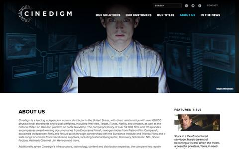 Screenshot of About Page cinedigm.com - ABOUT US - Cinedigm - captured June 16, 2015