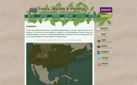 Screenshot of Locations Page treeswaterpeople.org - Trees, Water & People | Locations - captured Oct. 8, 2014