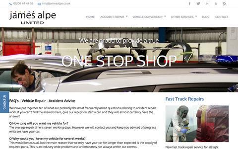 Screenshot of FAQ Page jamesalpe.co.uk - FAQ's - Vehicle Repair - Accident Advice - captured Oct. 6, 2014
