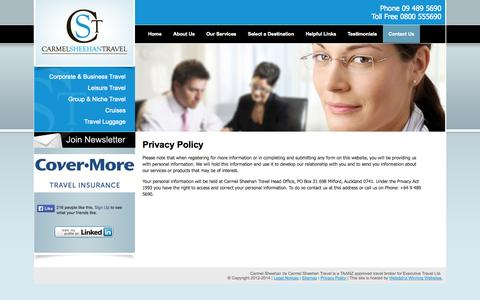 Screenshot of Privacy Page carmelsheehantravel.co.nz - Privacy Policy | Carmel Sheehan Travel - captured Sept. 29, 2014