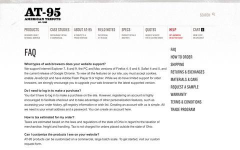 Screenshot of FAQ Page at-95.com - FAQ   AT-95 - captured Sept. 30, 2014