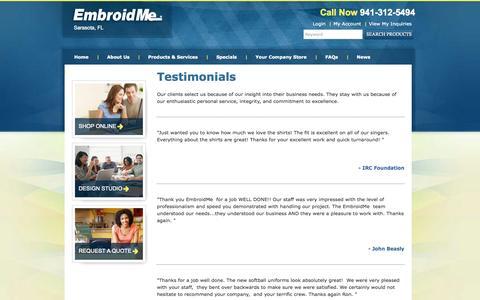 Screenshot of Testimonials Page embroidme-sarasotafl.com - Testimonials | EmbroidMe - captured Oct. 2, 2014