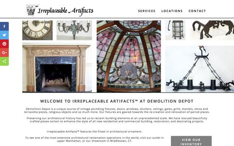 Screenshot of Home Page Contact Page Services Page Locations Page irreplaceableartifacts.com - Irreplaceable Artifacts - The Finest in Architectural Ornaments - captured Sept. 20, 2018