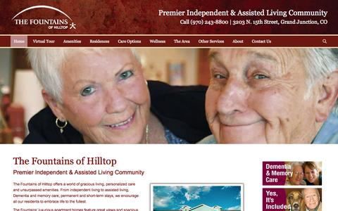 Screenshot of Home Page thefountainsgj.org - The Fountains of Hilltop | Independent Living, Assisted Living, Memory Care - captured June 20, 2015