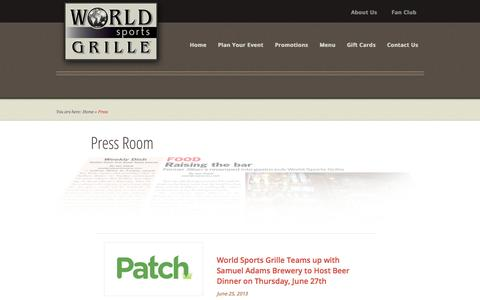 Screenshot of Press Page worldsportsgrille.com - Press - World Sports Grille World Sports Grille - captured Oct. 1, 2014