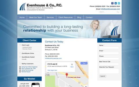 Screenshot of Contact Page evenhousecpas.com - Contact our Elmhurst Accounting & Tax Firm - captured Nov. 10, 2016