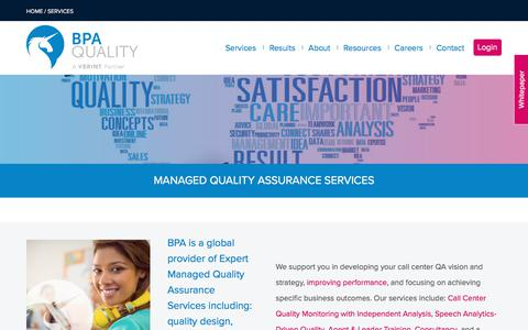 Screenshot of Services Page bpaquality.com - Managed quality assurance services for Contact Centers | BPA Quality - captured July 9, 2019