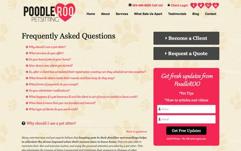 Screenshot of FAQ Page poodleroo.com - FAQ   Dog Sitting Services New Orleans - captured Aug. 12, 2017